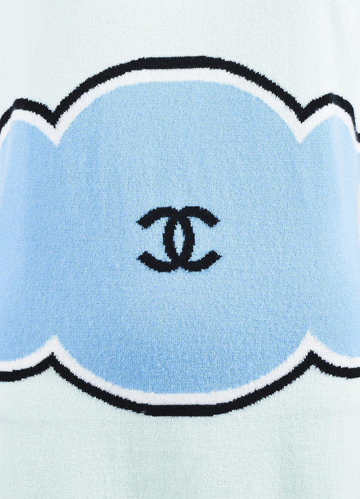 Chanel Mint Green, Light Blue, and Black Cashmere 'CC' Sleeveless Sweater Dress Detail