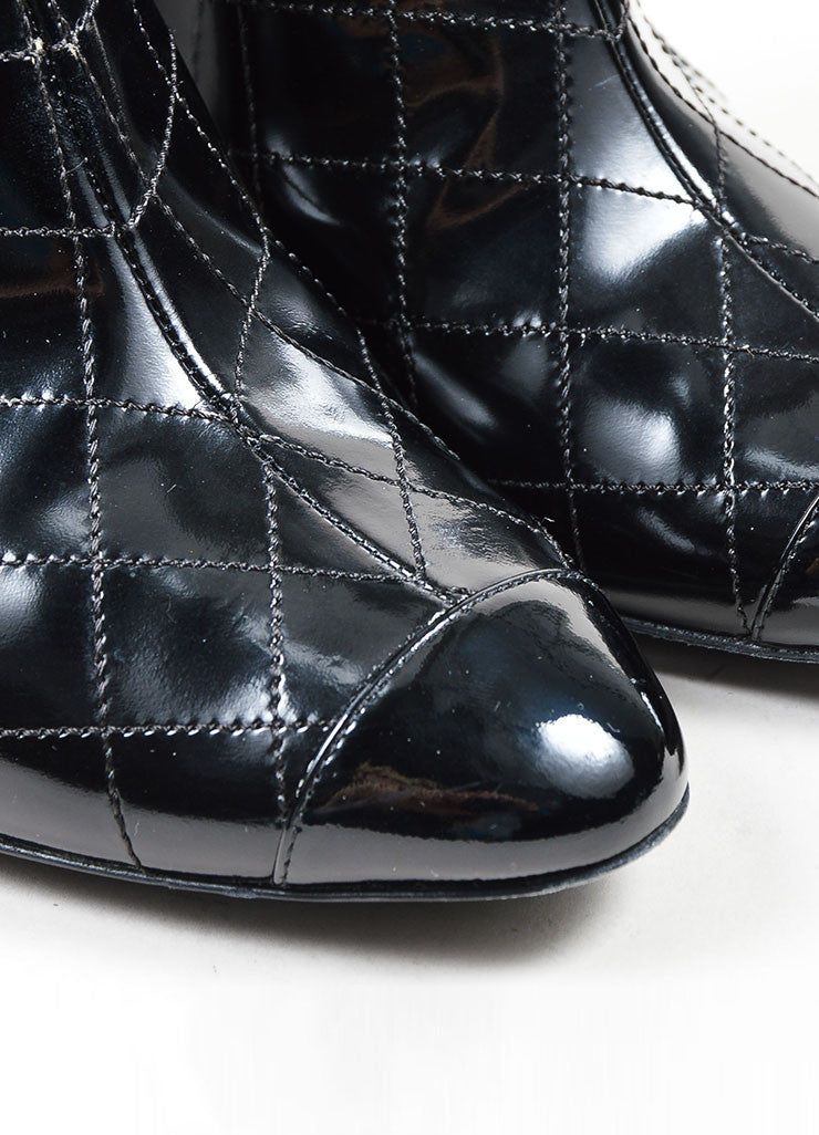 Black Chanel Patent Leather Quilted Cap Toe Ankle Booties Detail