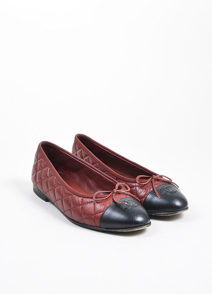 Dark Red and Black Chanel Caviar Leather 'CC' Cap Toe Ballet Flats Frontview