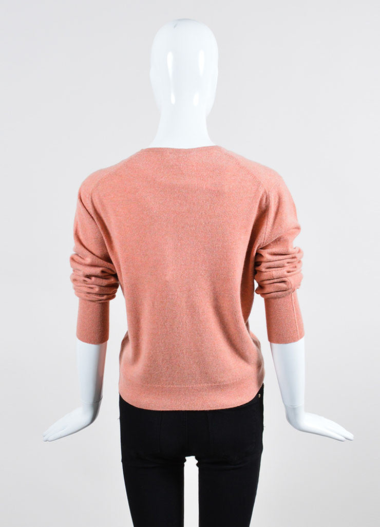 Salmon Pink Chanel Cashmere Sweater and Top Twin Set  Backview