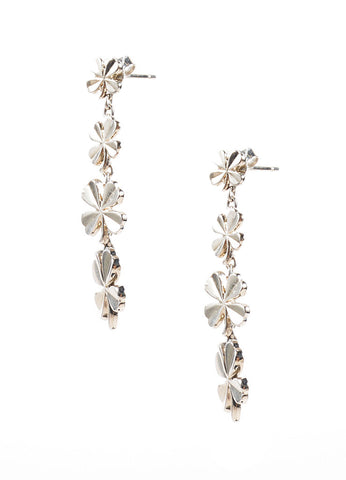 Chanel Silver Toned Four Leaf Clover Dangle Earrings Sideview