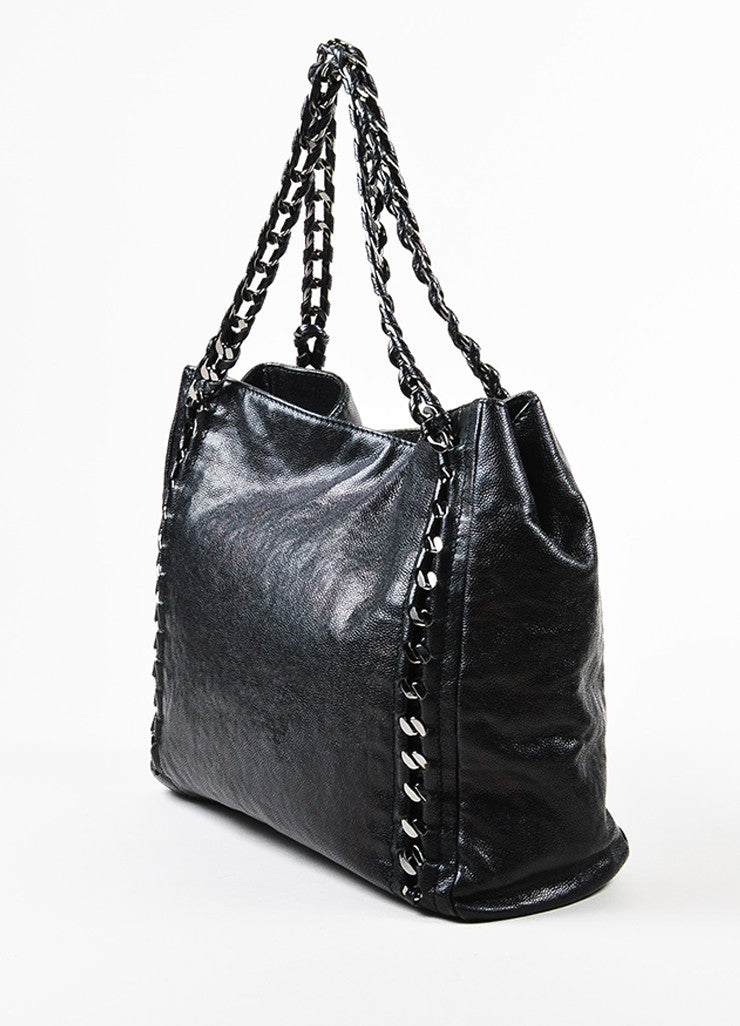 "Black Chanel Caviar Leather Luxe Ligne ""Modern Chain"" Tote Bag Sideview"