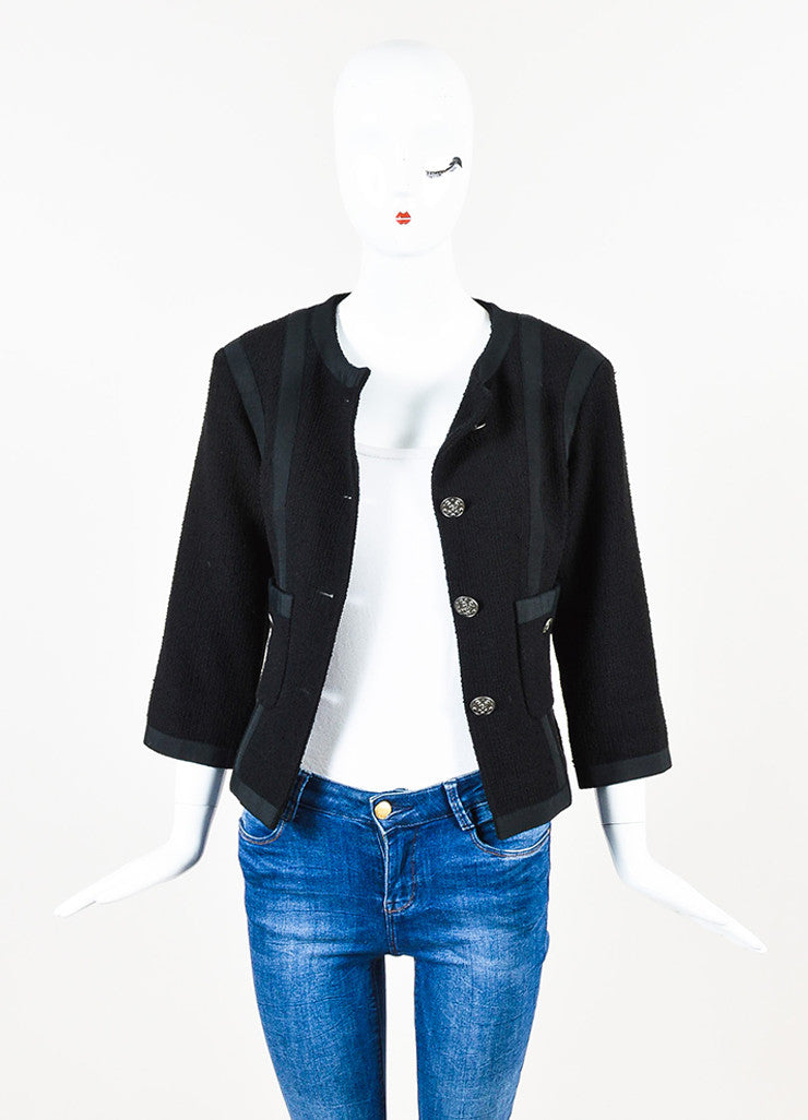 Chanel Black Cotton Tweed Grosgrain Cropped Sleeve Tailored Jacket Frontview