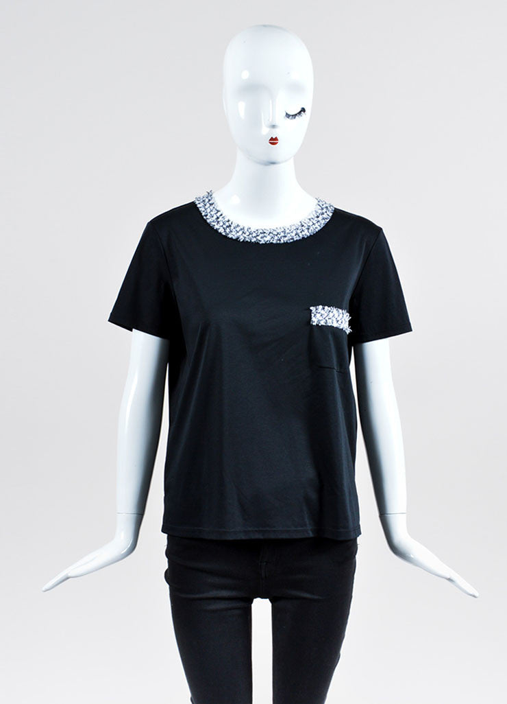 Black and White Chanel Cotton Tweed Neck and Pocket T-Shirt Frontview