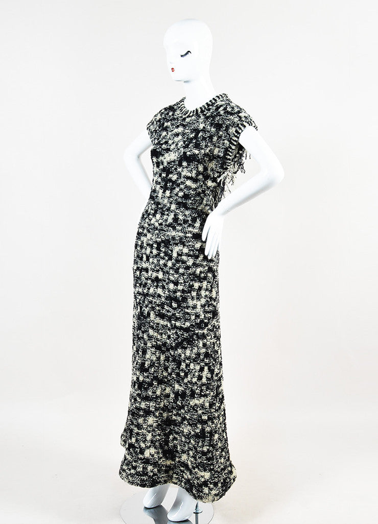 Chanel Black and White Wool Boucle Knit Cross Strap Fringe Short Sleeve Long Gown Sideview