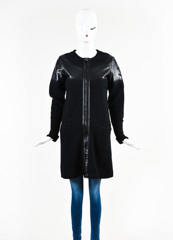 Chanel Black Wool and Lambskin Trim Gradient Blend 'CC' Patch Sweater Jacket Frontview 2