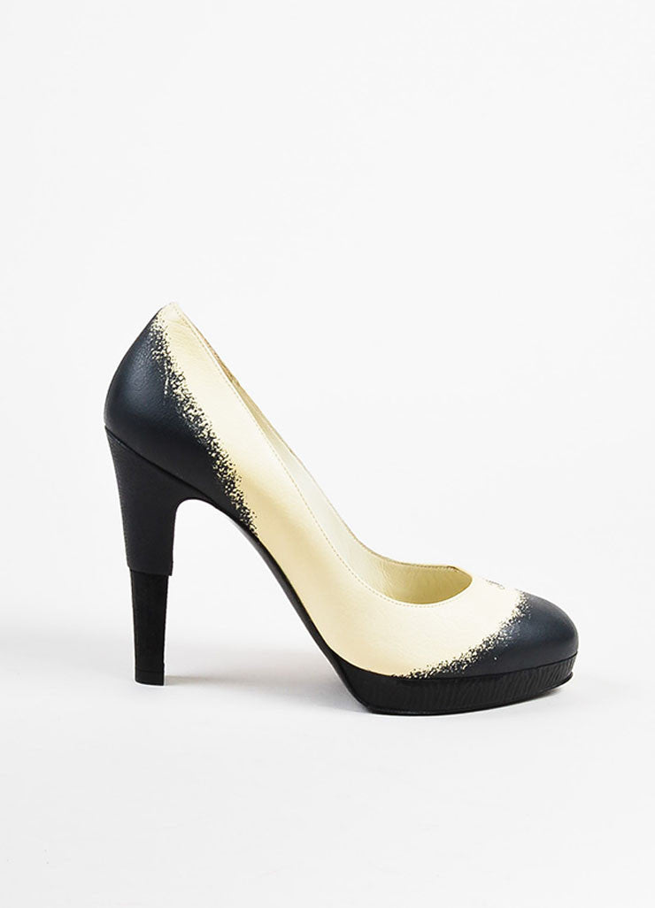 Chanel Cream, Black, and Blue Leather Textured Heel and Platform Pumps Sideview
