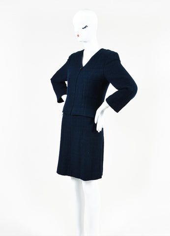 Chanel Navy Blue Boucle Tweed Zip Long Sleeve Jacket A-Line Skirt Suit Sideview