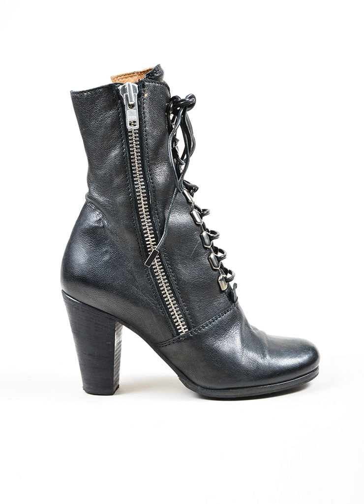 Black Chloe Leather Zip Lace Up Stacked Heel Mid Calf Boots Sideview