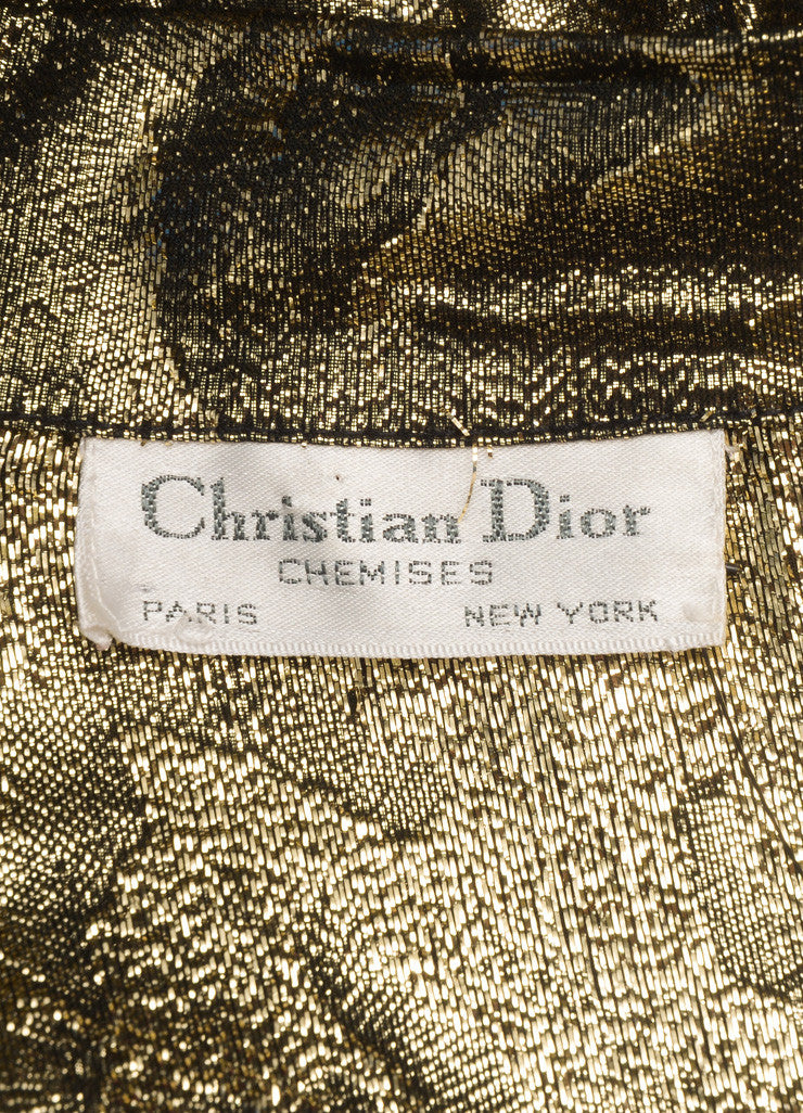 Christian Dior Gold and Black Metallic Floral Print Long Sleeve Blouse Brand