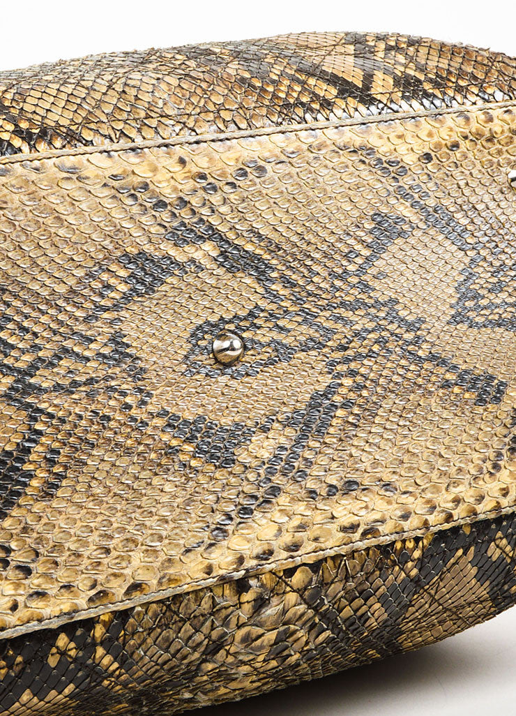 Christian Dior Beige Python Cannage Stitch Tote Bag Bottom view