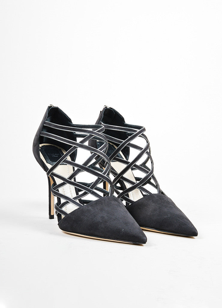 "Grey Christian Dior Suede Pointed Toe ""Captive"" Caged Pumps Frontview"