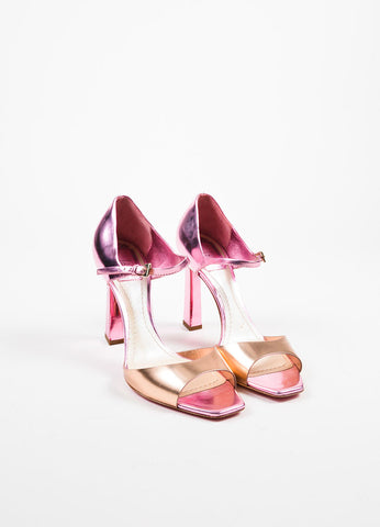 Christian Dior Pink Rose Gold Metallic Leather Sandal Heels Frontview