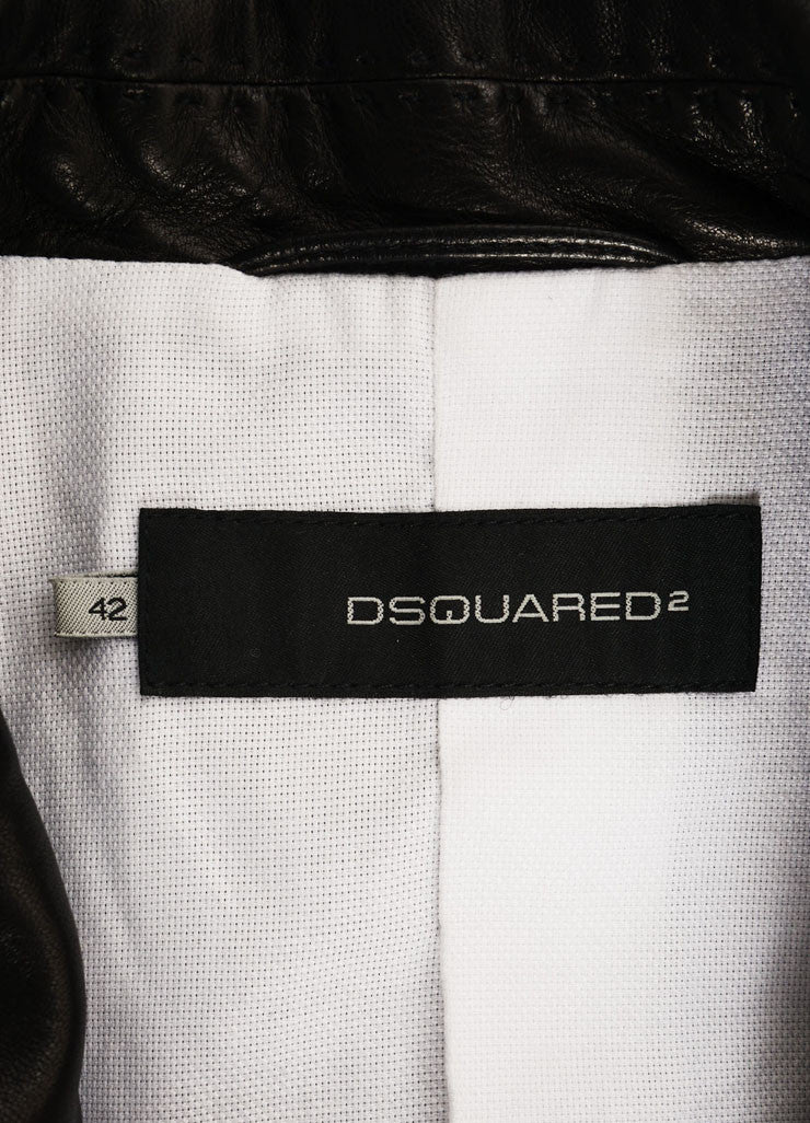 DSquared Black Leather Stitched Detail Blazer Jacket Brand
