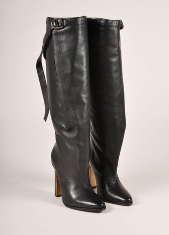 "Derek Lam New In Box Black Leather Knee High Wrap ""Tonya"" High Heeled Boots Frontview"