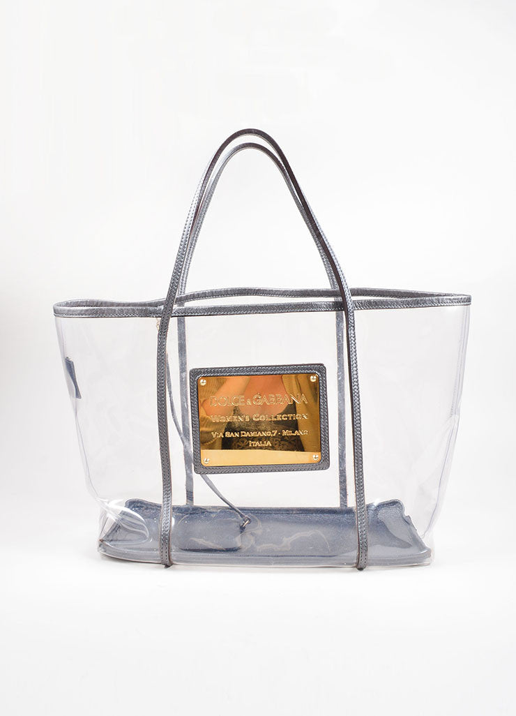 Dolce & Gabbana Clear and Grey Metallic Leather Trim Gold Toned Plate Tote Bag Frontview