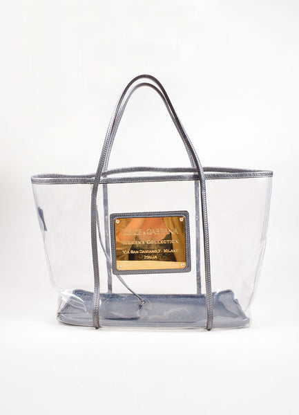 Dolce Amp Gabbana Clear Grey Leather Gold Plate Tote