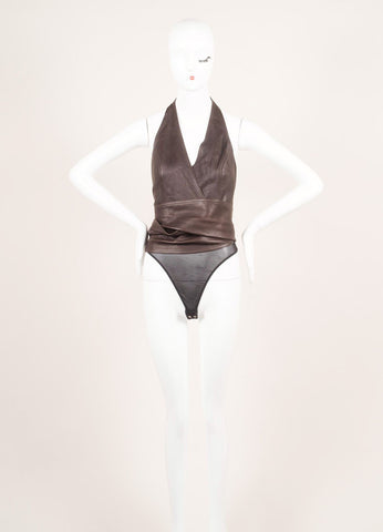 Donna Karan Brown Leather Wrap Sleeveless Belted Halter Body Suit Frontview