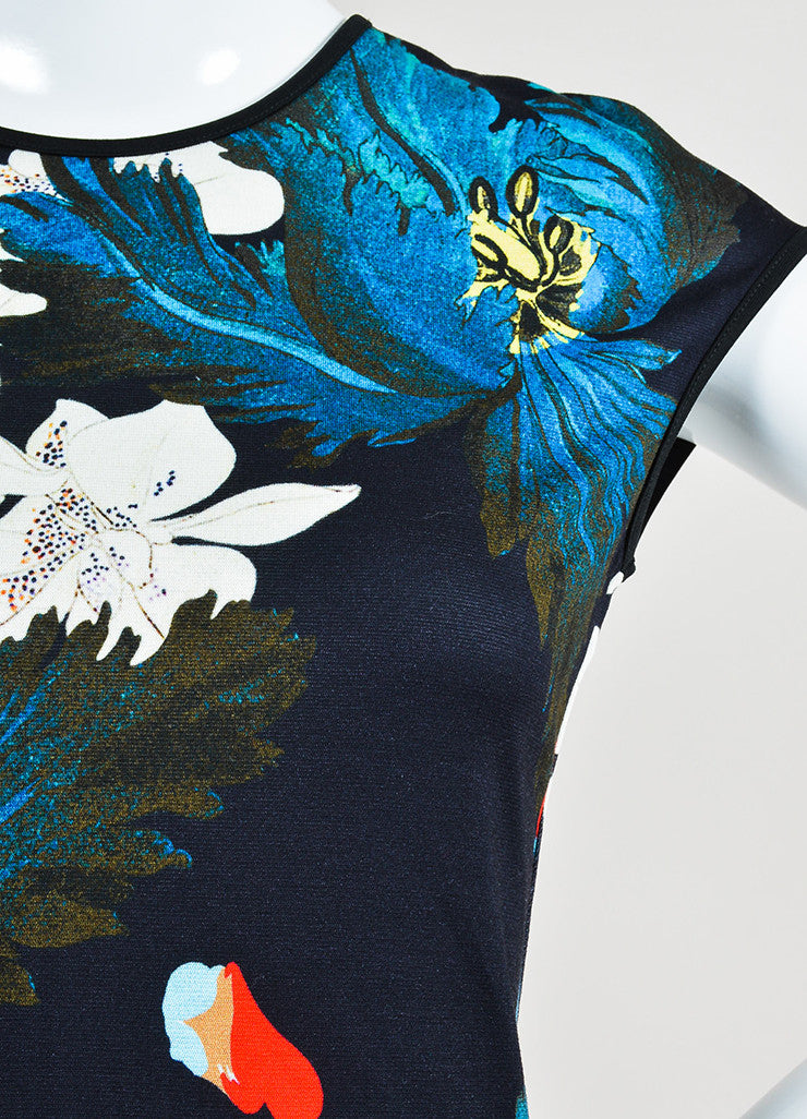"Multicolor Erdem Jersey Floral ""Darlina"" Cap Sleeve Dress Detail"