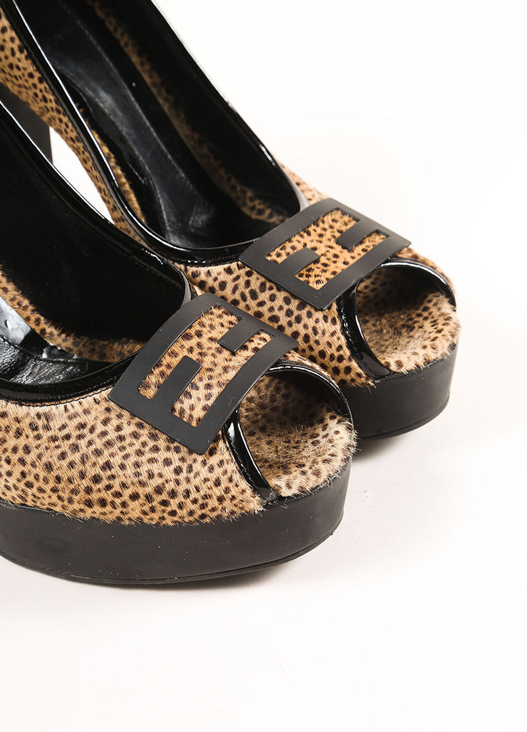 "Fendi Black and Brown Spotted Print Pony Hair Peep Toe ""FF"" Pumps Detail"