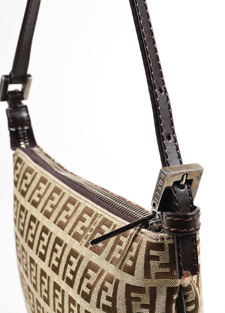 "Fendi Brown and Tan Canvas ""Zucca"" Square Cross Body Bag Detail 2"