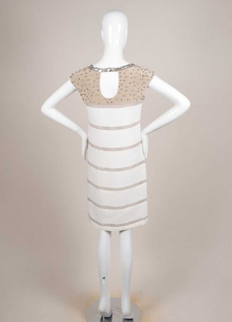 Fendi Tan and Cream Silk Knit Contrast Rhinestone Embellished Mesh Trim Dress Backview