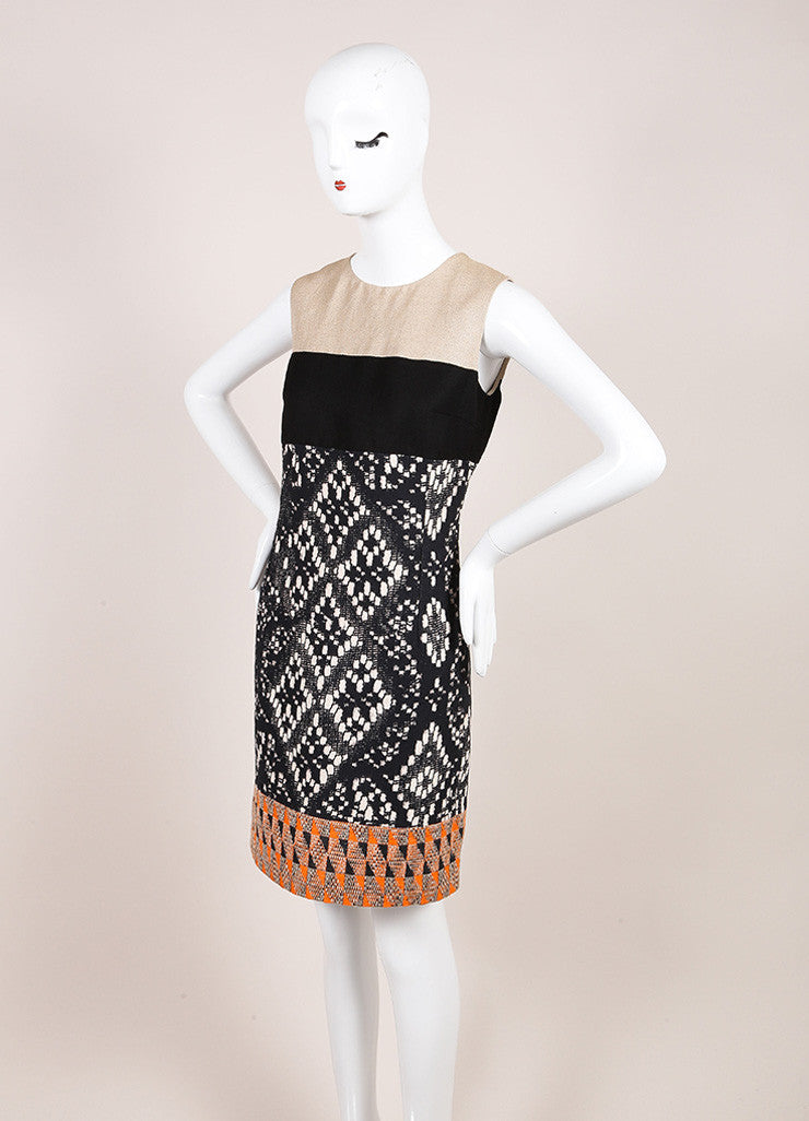 Giambattista Valli Tan, Black, and Orange Woven Sleeveless Dress Sideview