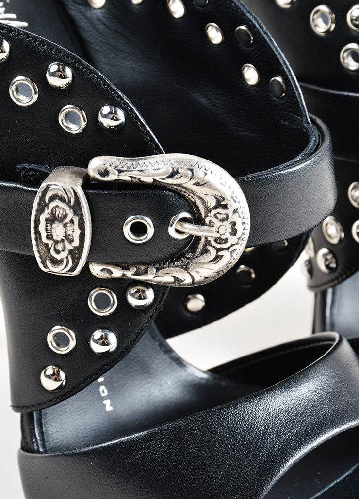 "Giuseppe Zanotti Black Leather Studded Buckle ""Jeti"" Mule Heels Detail"