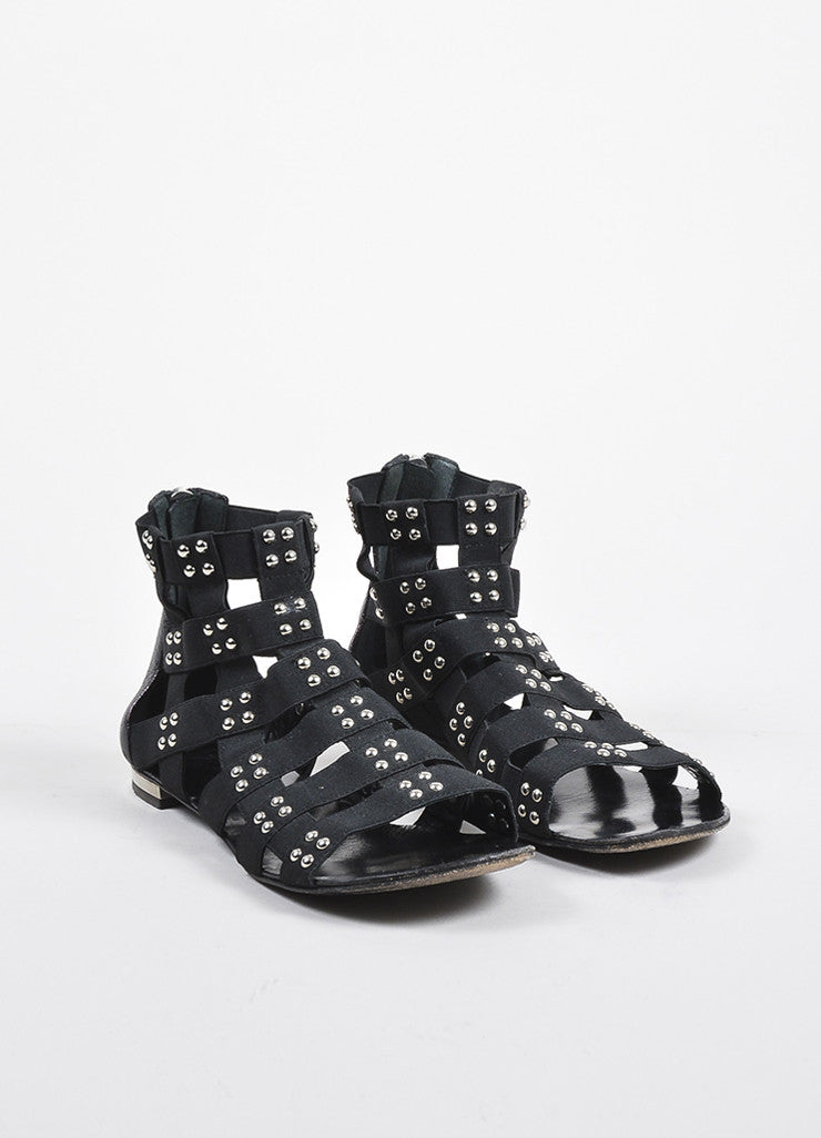 Giuseppe Zanotti for Balmain Black and Silver Studded Gladiator Sandals Frontview