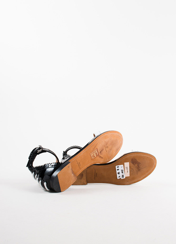 "Givenchy Black and White Patent Leather Ankle Strap Flat ""Coroline"" Sandals Outsoles"