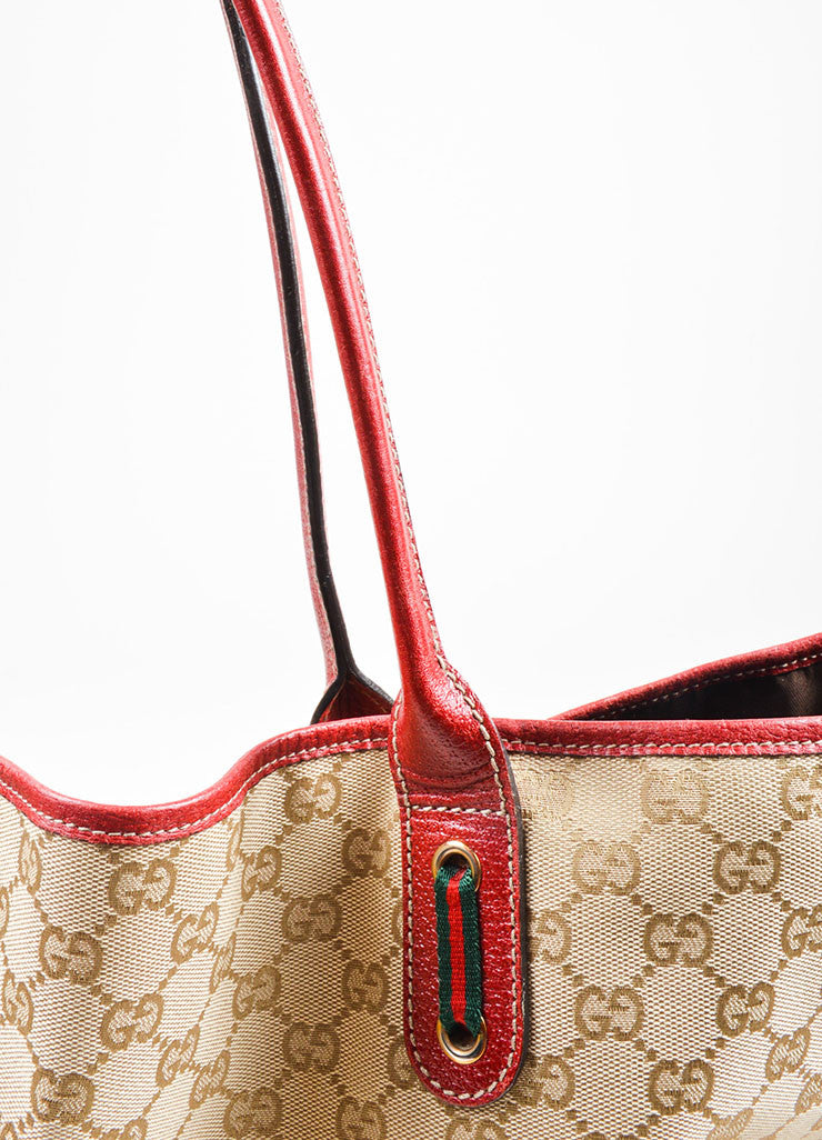 "Beige and Red Gucci Canvas and Leather Monogram ""Princy"" Tote Bag Detail 4"