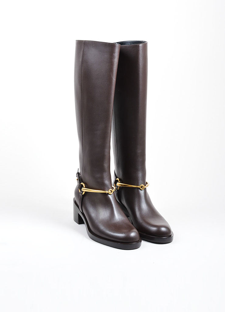 Brown and Gold Toned Gucci Leather Horsebit Knee High Riding Boots Frontview