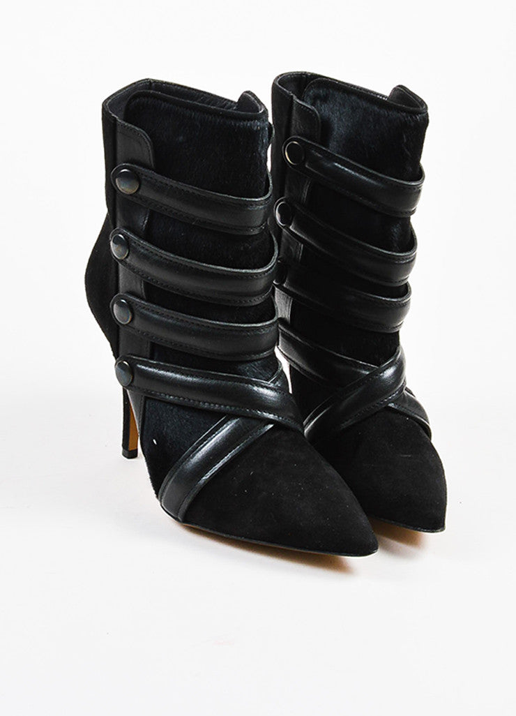 Isabel Marant Black Pony Hair Suede Strappy Pointed Toe Booties Frontview