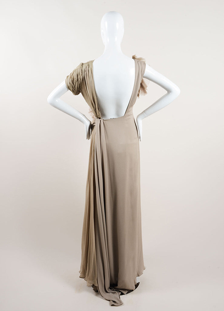 J. Mendel Taupe Silk Sleeveless Open Back Pleated Chiffon Detail Gown Backview