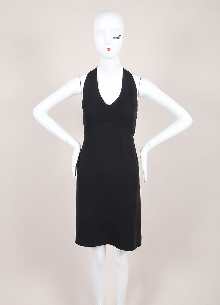 Jil Sander Black Silk Open Back Sleeveless Dress Frontview