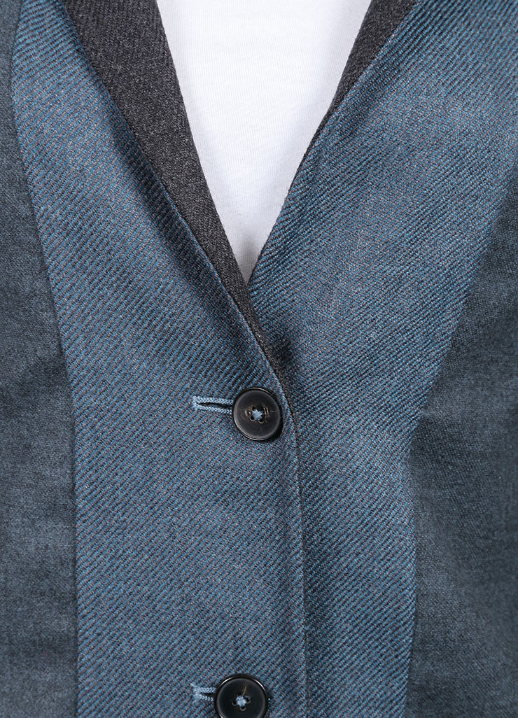 "Jil Sander New With Tags Blue and Grey Wool and Cashmere Buttoned ""Hopkins"" Blazer Detail"