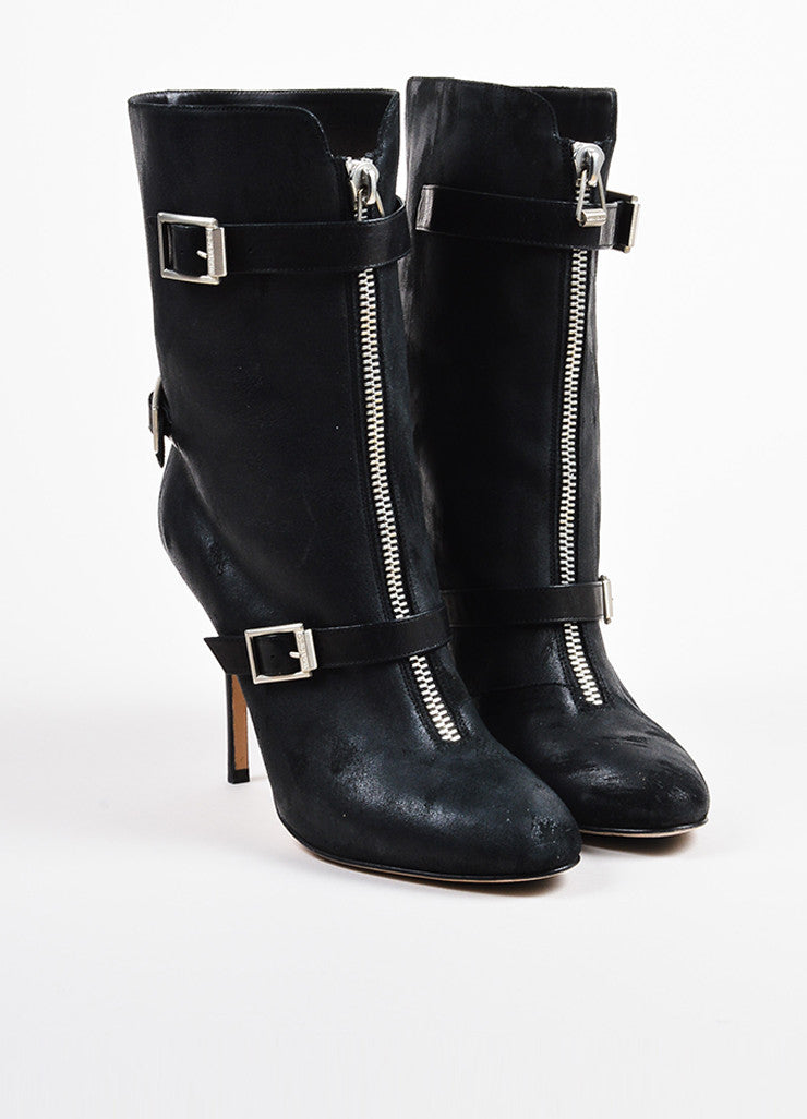 Jimmy Choo Black Leather Buckle Detail High Heel Boots Front