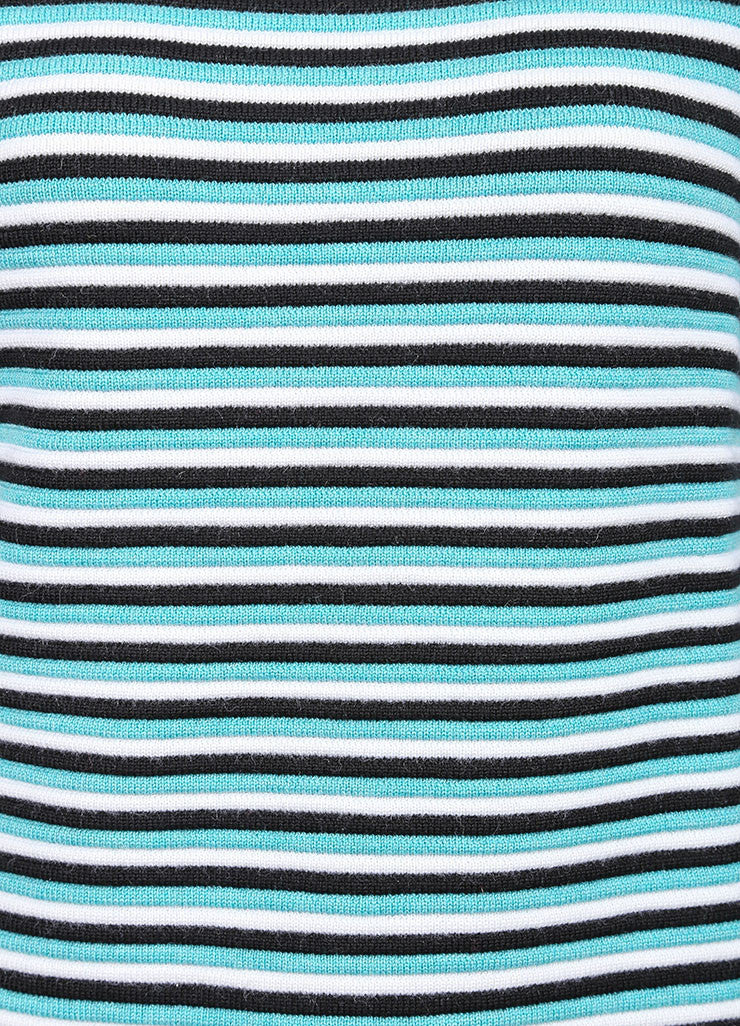 "Jonathan Saunders New With Tags Aqua, Black, and White Stripe Wool ""Pye"" Long Sleeve Sweater Detail"