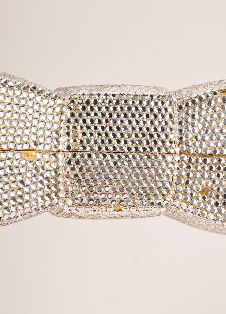 Judith Leiber Gold Toned Crystal Embellished Bow Minaudiere Shoulder Bag Detail