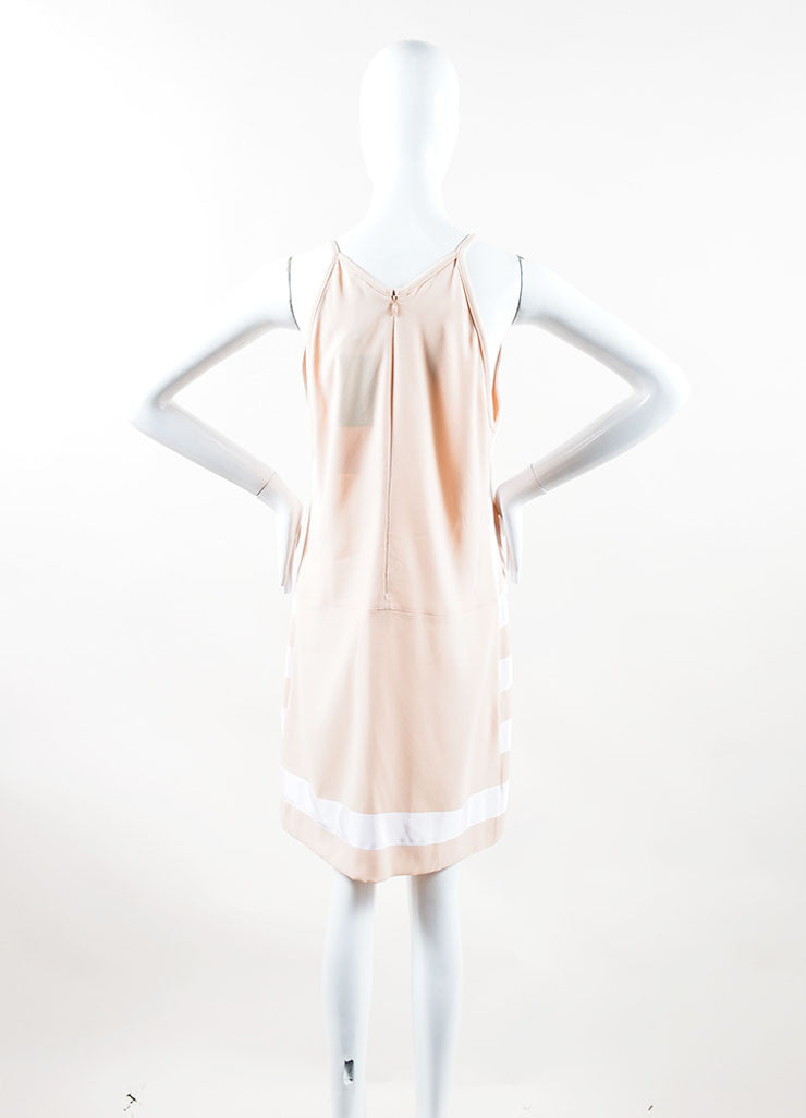 Kenzo Peach, Nude and White Crepe Ribbon Striped Sleeveless Dress Back