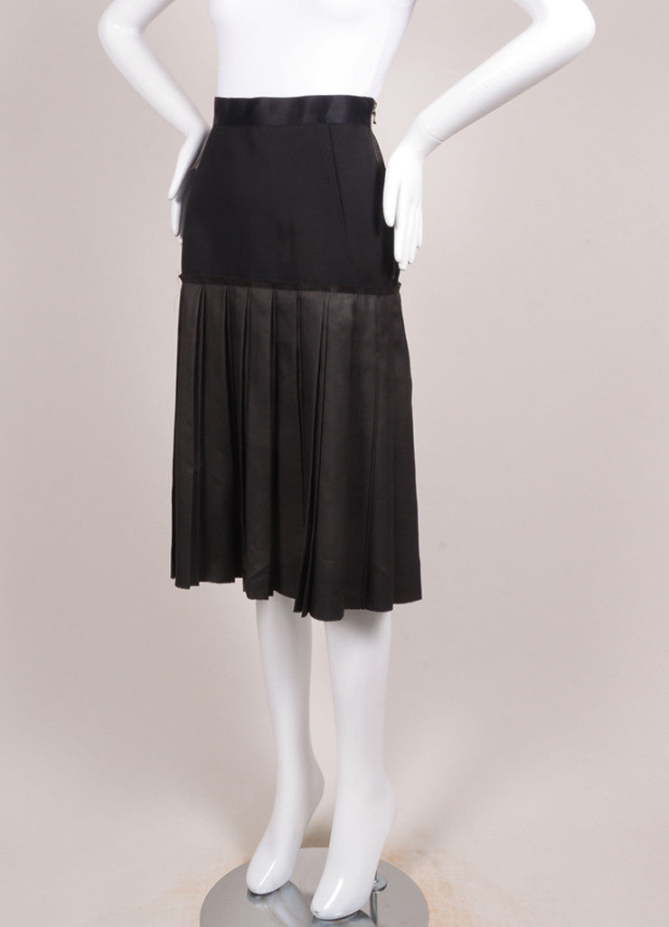 Lanvin Black Double Knife Pleated Knee Length Wool and Silk Skirt Sideview