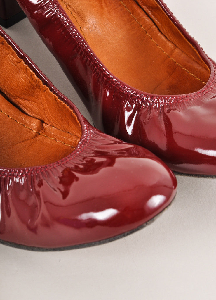 Lanvin Deep Red Patent Leather Elastic Block Heels Detail