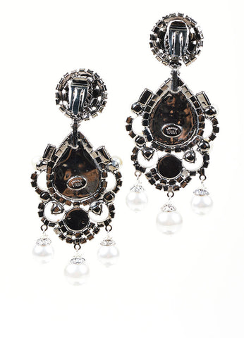 Silver Lawrence VRBA Teardrop Chandelier Clip Earrings Back