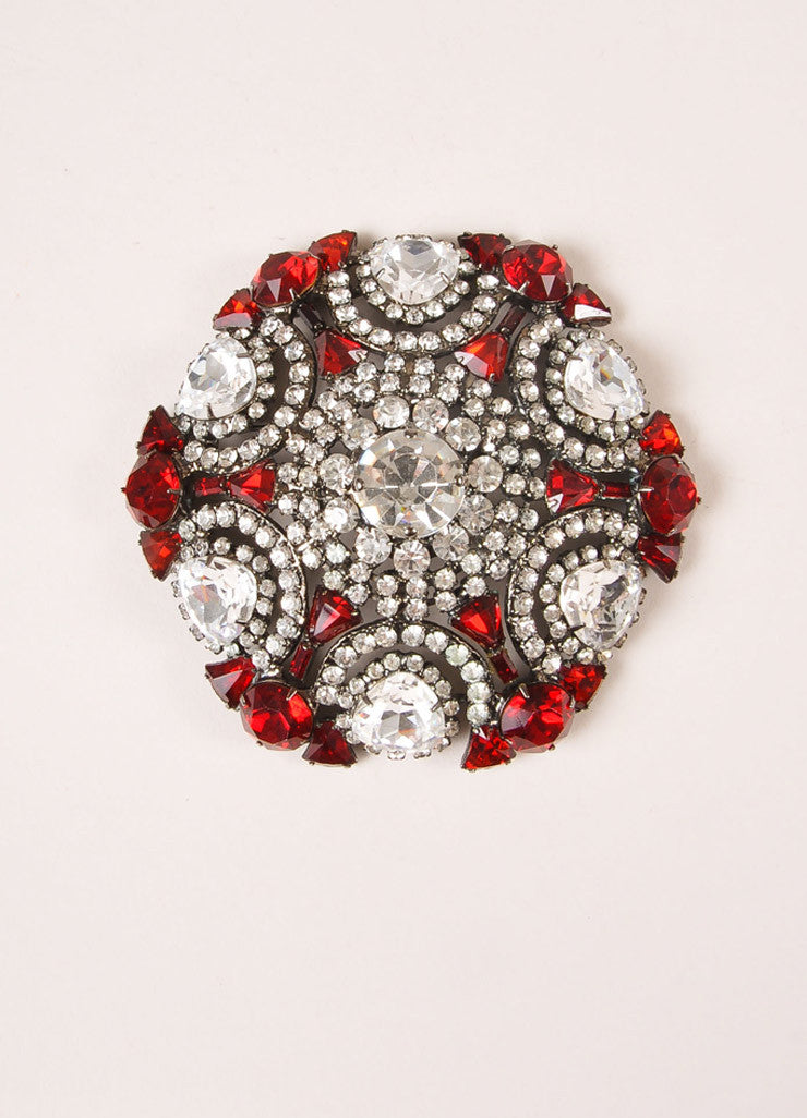 Lawrence Vrba Chrome Toned and Red Rhinestone Oversized Circle Pin Brooch Frontview