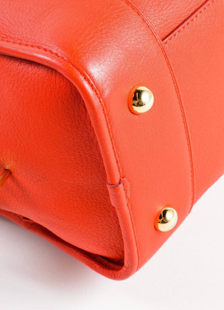"Loewe Red Leather Limited Edition ""Amazona 36"" Satchel Bag Detail"