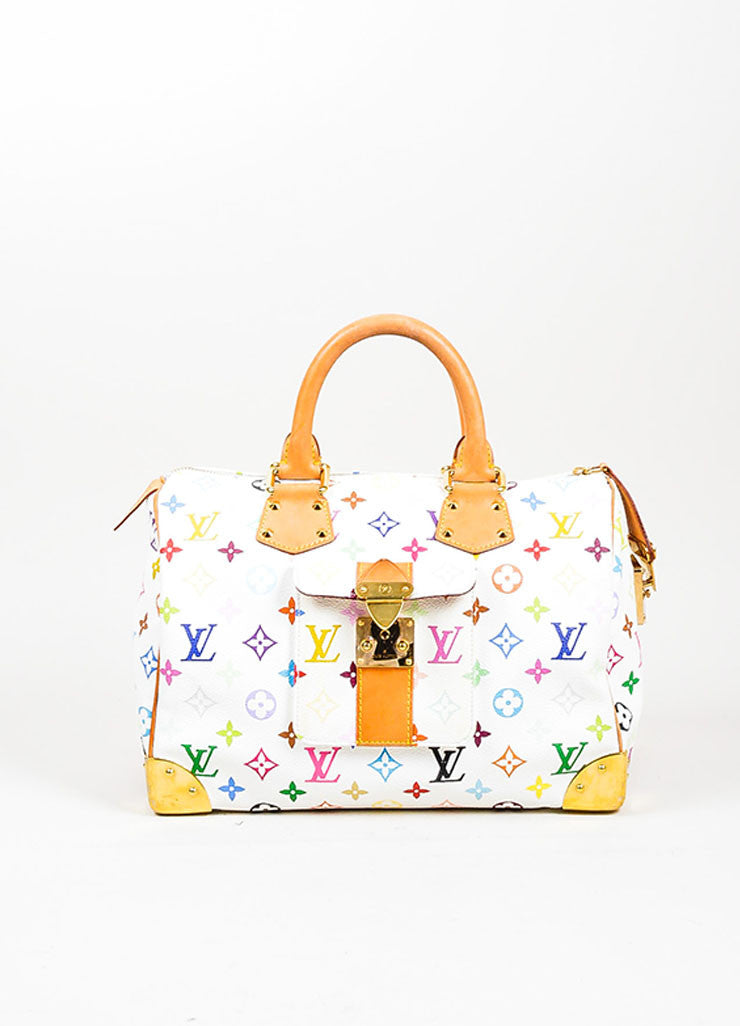 Louis Vuitton Monogram Multicolore Speedy 30 White Canvas and Leather Satchel Frontview