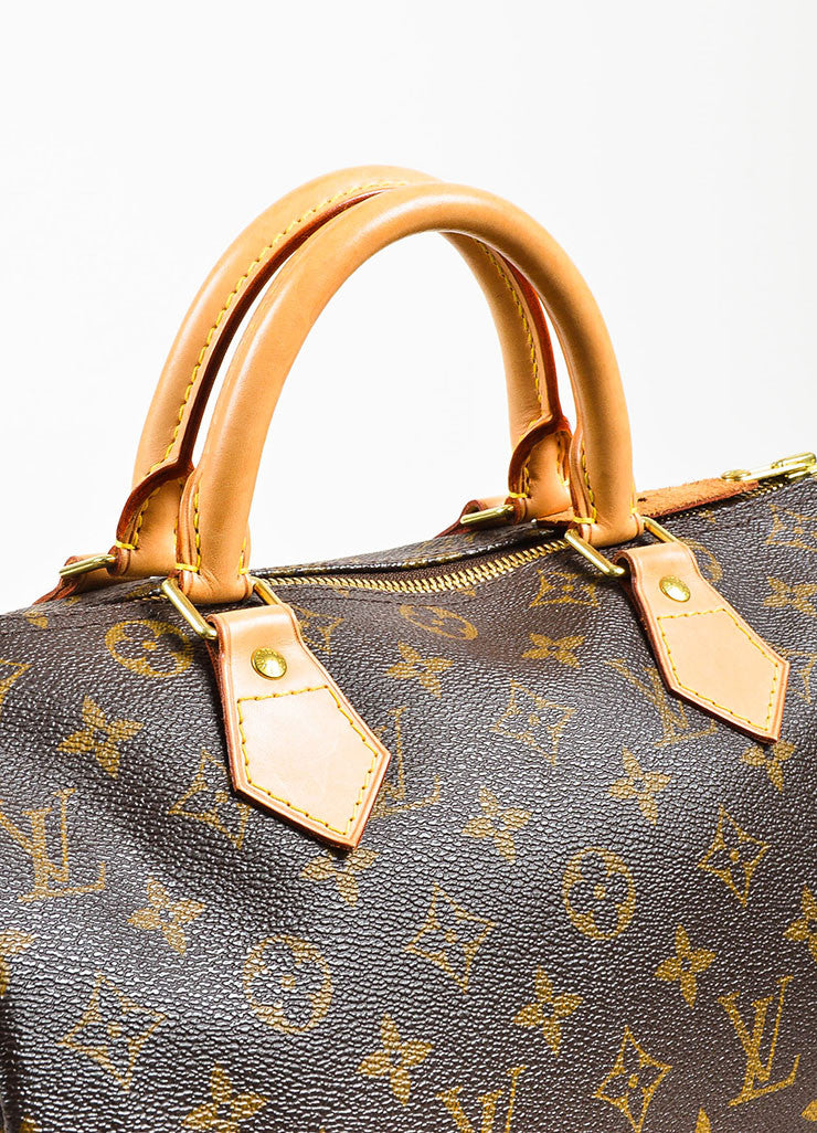 "Brown and Tan Louis Vuitton Coated Canvas Monogram ""Speedy 30"" Satchel Bag Detail 2"