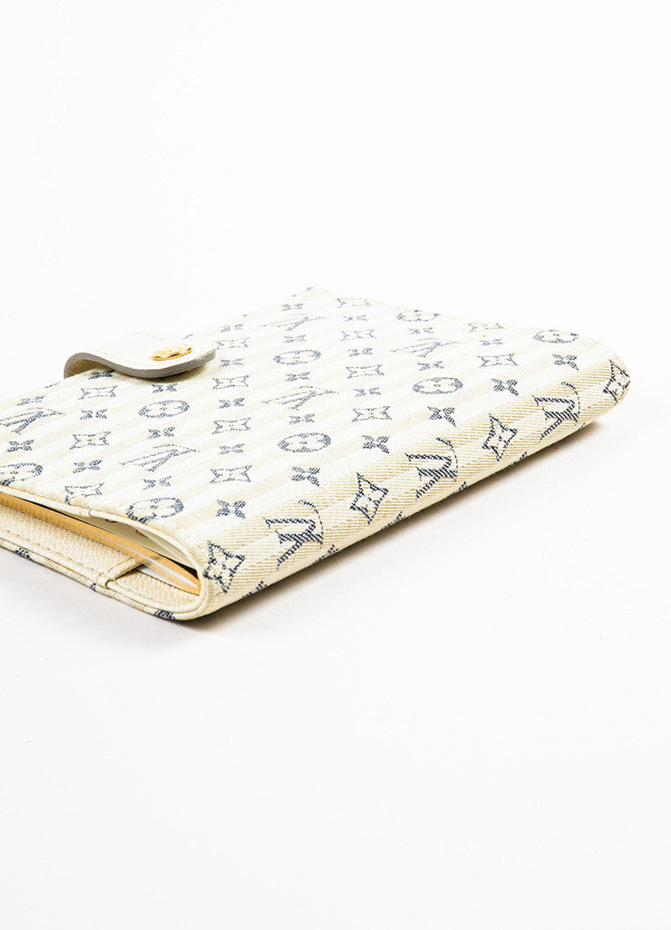 "Louis Vuitton Beige, Cream, and Navy Monogram ""Croisette Mini Lin Small Agenda"" Cover Sideview"