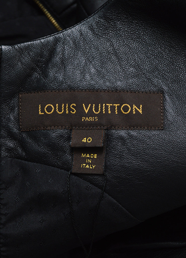 Black Louis Vuitton Leather Suede Panel Sleeveless Dress Brand