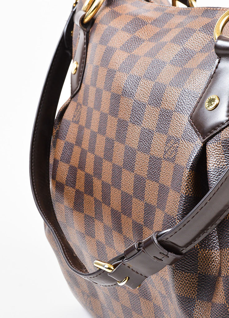 "Louis Vuitton Brown ""Ebene Damier"" Coated Canvas Checkered ""Evora MM"" Tote Bag Detail 3"